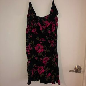 Express Black Wrap Dress with Pink Flowers